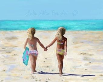 """Girls Sisters Friends Art Print Beach House Art Print Beach Art Little Blonde Girls Decor Children Art Playing Ocean""""Sun In Our Hair"""""""