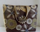 Blooms on Brown BIG Carry All Tote Bag - Ready to Ship