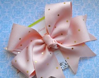 Light Peach with Golden Dots XL Diva Bow