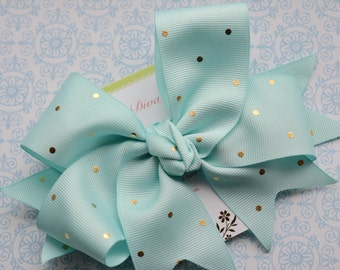 Light Aqua with Golden Dots XL Diva Bow