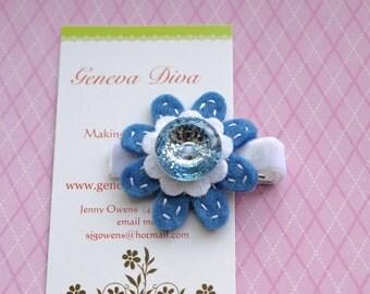 Cornflower Blue Bling Felt Flower Hairclip