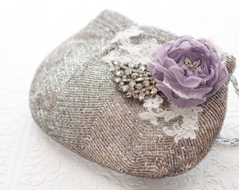 Silver and lilac purse, Rustic romantic wedding beaded vintage clutch purse, purple flower, victorian lilac silver grey purse, antique style