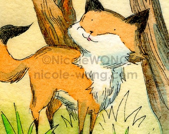 ACEO Watercolor Painting and Ink Drawing Art Print -- Little Fox Watching the Leaves Fall