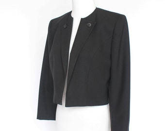 70's Cropped Black Wool Jacket / Larry Levine / 3/4 Sleeves / Small