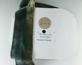 "2.5"" VELVET SILK RIBBON Hanah Silks Mossy Rock by the yard"
