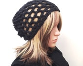 Material Girl Grid Stitch Slouchy Beanie - crocheted in basic black - women girl teen - lightweight easy wear