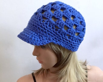 The Kepi -  Brimster- Beach Collection - Spring Summer Fall  - All Season - 100 percent cotton yarn in bright blue