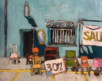 """For Sale - Original Acrylic Oil Encaustic Cityscape Painting - 12""""x 12"""""""