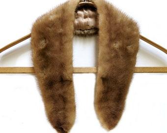 Vintage Medium Brown Long Mink Collar For Sweater or Jacket 1950s-60s