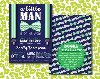DIY Little Man is on His Way Baby Shower Invitation Suspenders
