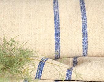 R 444 antique hemp linen roll 리넨 BRIGHT BLUE grain sack fabric 12.67 yards wedding decor lin 22.05wide