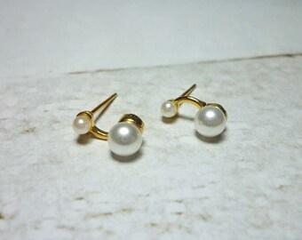 SALE - Double Pearl Stud Earrings