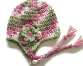 Ready To Ship - Crochet Pink Camo Earflap Hat - Pink Camouflage  Baby Girl Hat - Pink Sage Brown Earflap Baby Hat - Size 3 to 6 Months