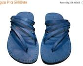 15% OFF Blue Rainbow Leather Sandals for Men & Women - Handmade Sandals, Leather Flats, Leather Flip Flops, Unisex Sandals, Blue Leather San