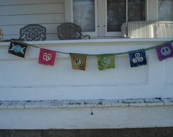 Yoga Prayer Flags Batik Wall Hanging Organic Cotton Peace Love Om