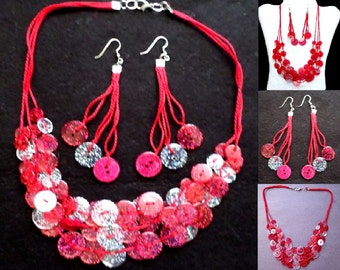 Button Necklace Set - Red and Clear Glitter Button