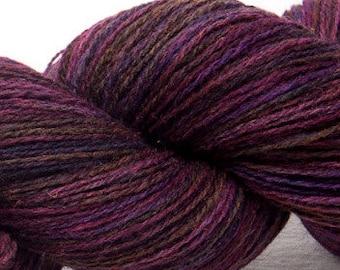 Hand dyed British Shetland painted  laceweight 2ply Amethyst 100% pure British wool yarn  100g
