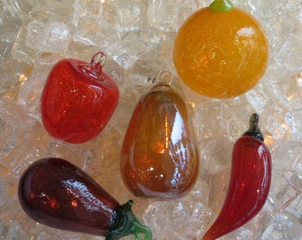 "Glass Fruit Ornaments, Set of Five, 3""-4"" Hanging Blown Glass Fruit and Vegetables Include Orange, Eggplant, Pear, Chili Pepper, and Apple"