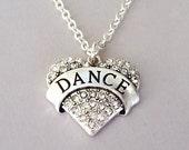 Crystal dance necklace, rhinestone dance heart pendant, love dance statement necklace, ballet dancer, gift for dancer, dance teacher gift