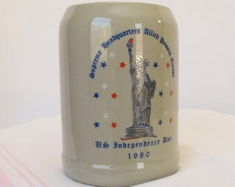 Large Heavy Gray Beer Stein Mug Allied Powers Europe US Independence Day 1980 Memorabilia Military Momento Collectible Commemorative Ceramic