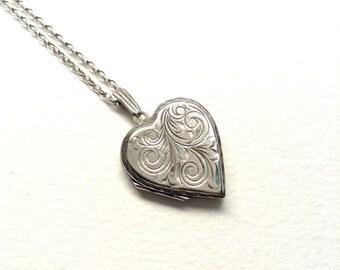 Vintage heart locket, silver necklace, hallmarked Birmingham 1975