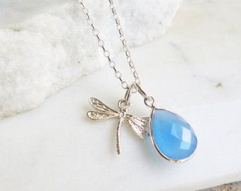 Gemstone and Silver Dragonfly Necklace