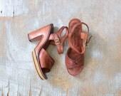 70s platform heels, vintage leather platform wood sandals, size 6/6.5 ankle strap shoes