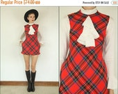 MEMORIAL DAY SALE Vintage 60's Wool Plaid Ascot Ruffle Scottish Tartan Preppy Boho Mod Red School girl Mini dress Xxs Xs