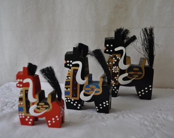 Three Vintage Yawata Horses/Red and Black Painted Wood Horses/Japanese Folk Art