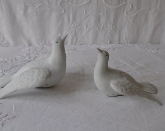 Vintage Bisque Limoges Doves/Pair of Bird Figurines/Wedding Bridal Decor