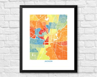 Jackson MS Map Print.  Pick the Colors and Size.  Mississippi Line Art.