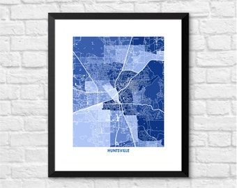 Huntsville Map Print.  Choose the Colors and Size.  Alabama Art for your Gallery Wall.