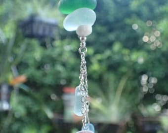 Sea glass and sea shell pendant