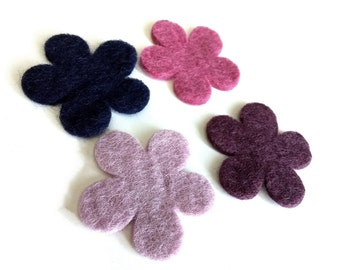 Felt Flowers - 4 Pure Wool Handmade Embellishments 60mm - Mixed Colors