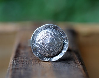 Sterling Silver Ring, Oxidised Metalwork Ring, Ornate Ring - Rococo Ring