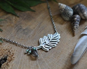Sterling Turquoise Smoky Quartz Leaf Necklace, Oxidised, Sterling Silver Gemstone Charm Necklace - Growth Necklace in Smoky