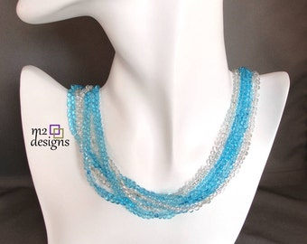 Multi-Strand Aqua and Silver Beaded Choker Necklace, Unique Handmade Jewelry for Women by m2designs, Birthday Gift, Anniversary Gift for Her