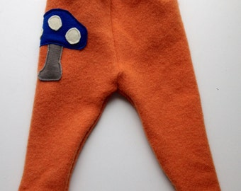 Diaper Cover Wool Longies - Orange Recycled Lambswool Longies with a Toadstool