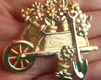 Wheel Barrow Flower Garden Brooch, Marked Pin