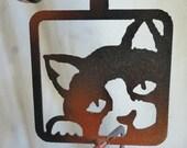 Metal Cat Garden Decor, metal garden art, cat decor, hanging metal art, metal lawn ornament, cat ornament, cat sculpture, metal cat