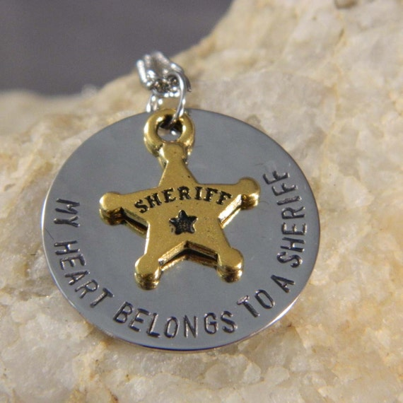 My Heart Belongs to a Sheriff Handstamped Necklace