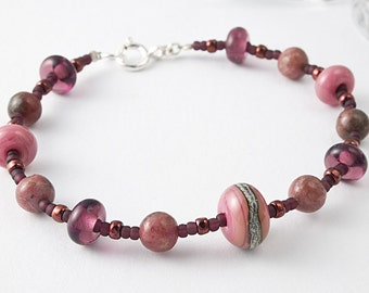 Rhodonite,  Lampwork and Silver Bracelet