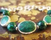 RESERVED Chrysocolla Bracelet, Green Bracelet, Natural Gemstone Bracelet, Sterling Silver Chain Bracelet