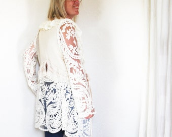 upcycled clothing, sustainable fashion, cardigan, knit jacket . tumbleweed
