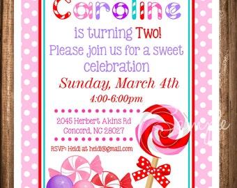 Lollipop Invitation, Printable lollipop Invite, Digital Invitations, Candyland Lollipop Invitation