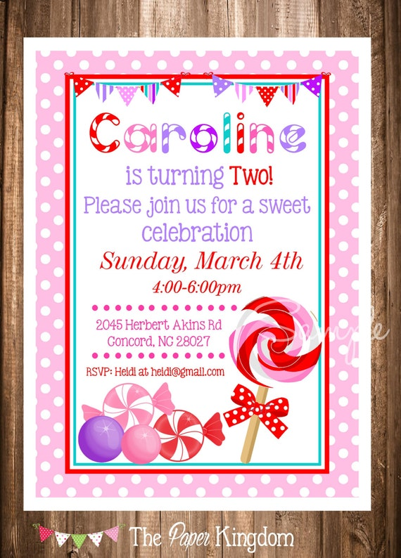 Printable Lollipop Invitation Printable lollipop Invites Digital