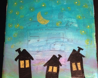 "Original Mini canvas ""Three House Night"""