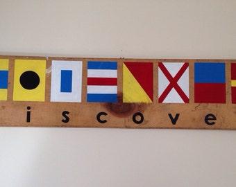 """Nautical Flag Sign """"discover"""""""