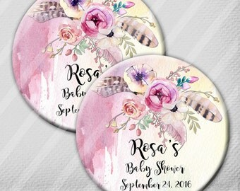 "Watercolor Floral Baby Shower Rustic Boho 2.25"" Pin Back Buttons, Mirrors or Magnets, Set of 12, Showers, Birthdays"