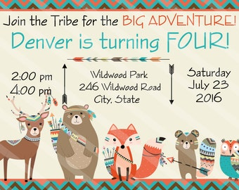 Tribal Woodland Animals Digital Party Invitation for Birthdays, Baby Showers, Bridal Showers, Weddings, Thank You Cards, Any Age, YOU PRINT